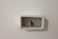 polistirolo con all'interno corteccia,figura lemurica collocata dentro parte di vecchia cassetta audio