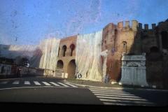 Vittorio Biffani Christo The Wall, wrapped Roman Wall via Veneto & villa Borghese, Rome 26 gennaio 1974-50