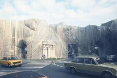 z Gianni Termorshuizen Christo The Wall, wrapped Roman Wall via Veneto & villa Borghese, Rome 2