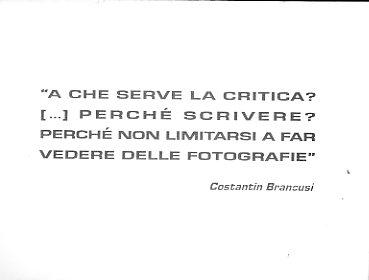 """""""a che serve la critica? […] perchè scrivere? perchè non limitarsi a far vedere delle fotografie Costantin Brancusi"""""""