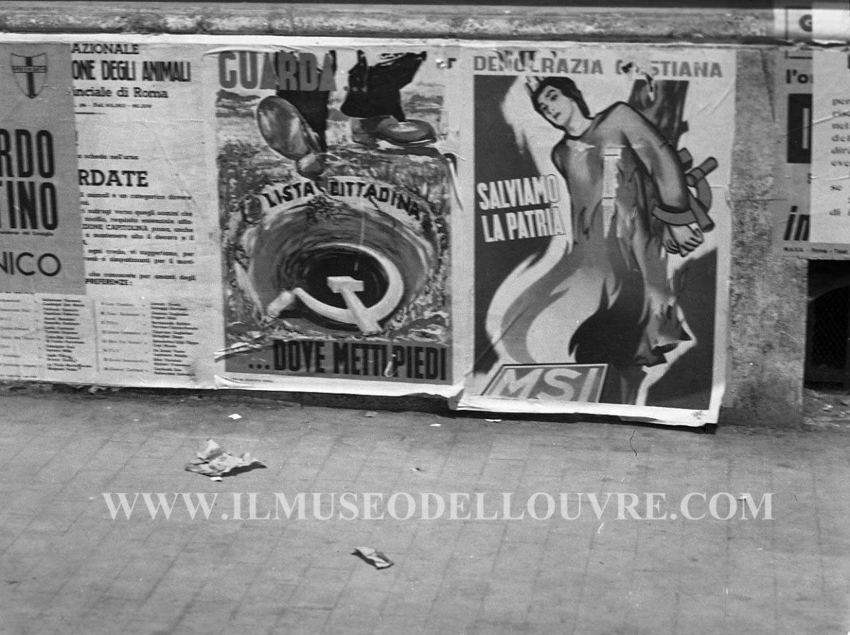 Manifesti della propaganda elettorale per le politiche del 7 giugno 1953.